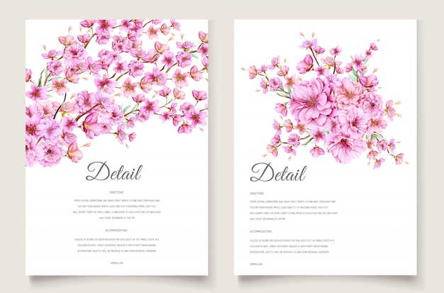 Beautiful cherry blossom invitation card template Free Vector