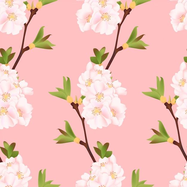 Beautiful cherry blossom seamless pattern Premium Vector