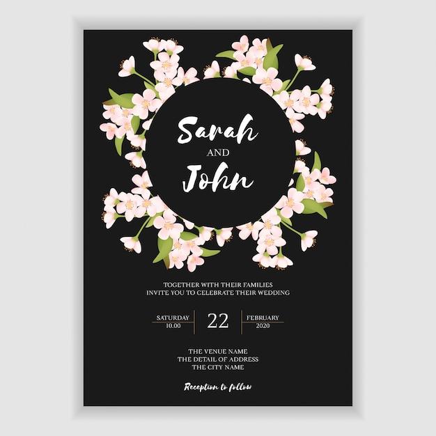 Beautiful cherry blossom wedding invitation card Premium Vector