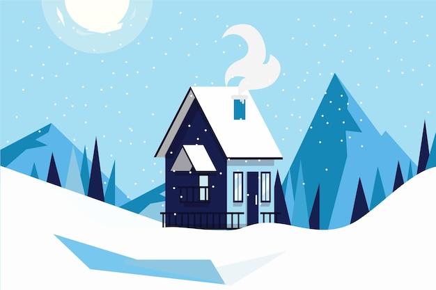 아름다운 차가운 겨울 풍경 무료 벡터