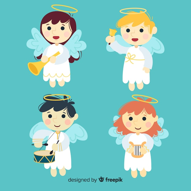 Beautiful christmas angel collection in flat style Free Vector