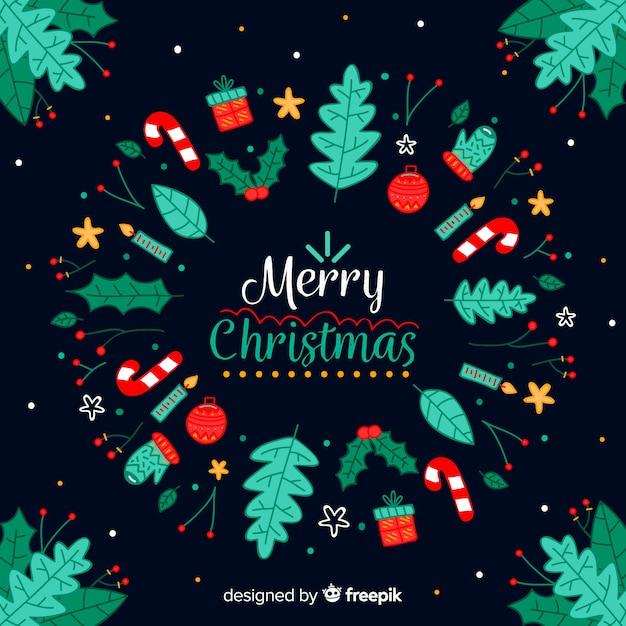 Beautiful Christmas Background Design.Beautiful Christmas Background In Hand Drawn Style Vector