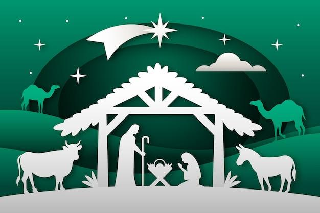 Красивый новогодний фон в плоском дизайне Бесплатные векторы
