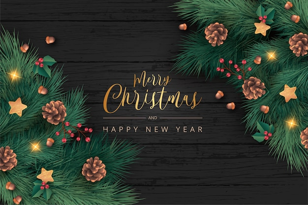 Beautiful christmas background in realistic style Free Vector