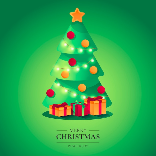 Beautiful Christmas Background with Cute Tree Free Vector