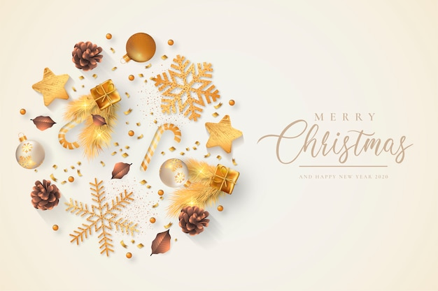 Beautiful christmas background with golden ornaments Free Vector