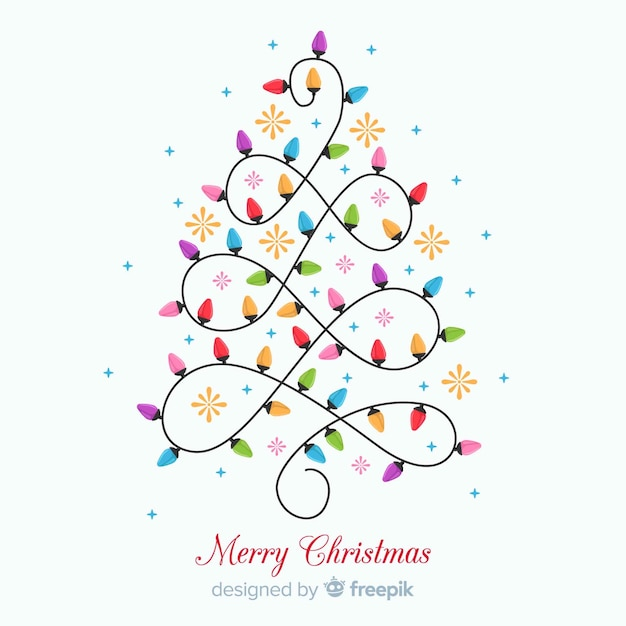 Beautiful christmas background with light bulb tree Free Vector