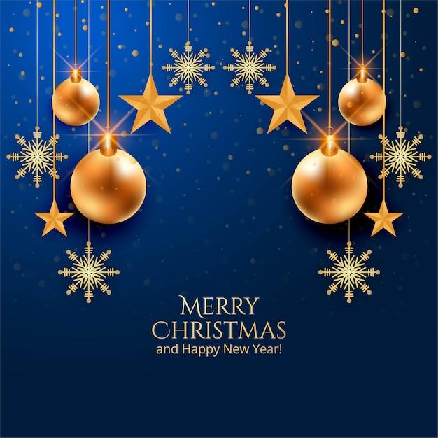 Красивые новогодние шары на синем фоне Бесплатные векторы
