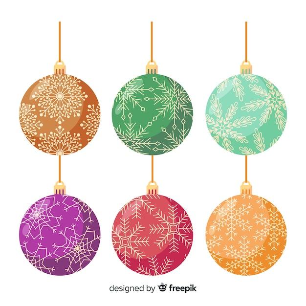 Beautiful christmas balls vintage style Free Vector