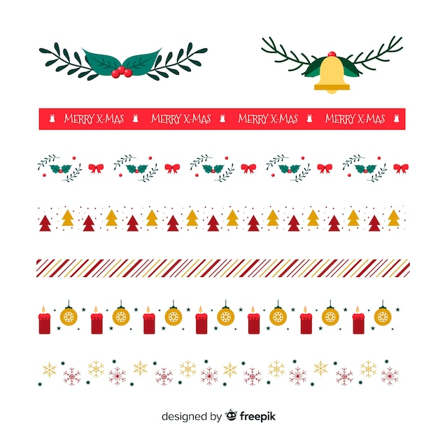 Beautiful christmas borders pack Free Vector
