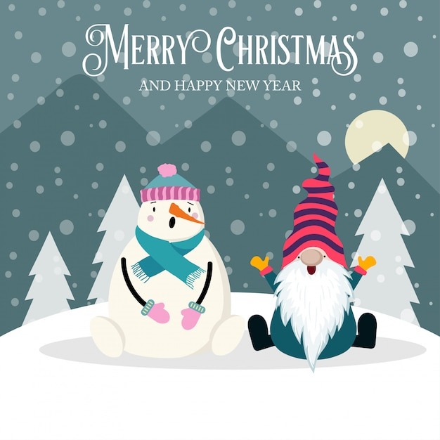 Beautiful christmas card with gnome and snowman Premium Vector