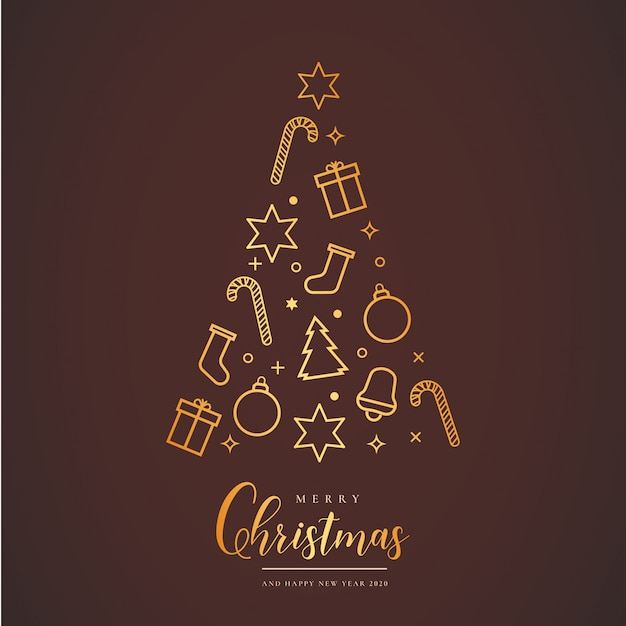 Beautiful christmas card with tree Free Vector
