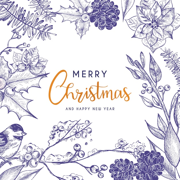 Beautiful christmas card with vintage flowers Free Vector