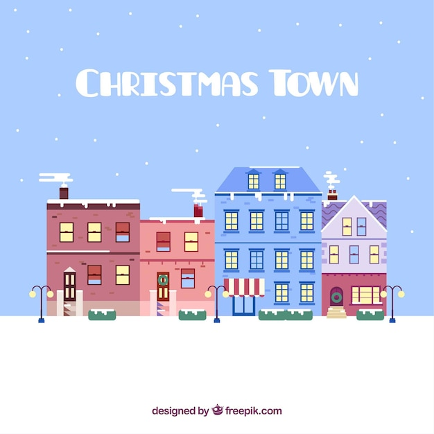 Beautiful Christmas Background Design.Download Vector Beautiful Christmas City Background In