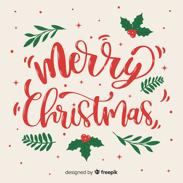 Beautiful christmas concept with lettering Free Vector
