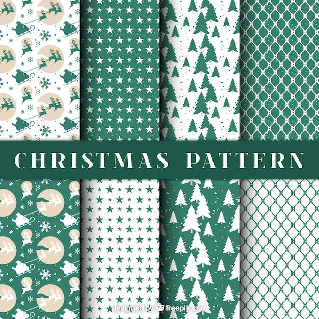 Beautiful christmas decorative patterns Free Vector