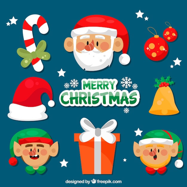 Beautiful christmas element collection Free Vector