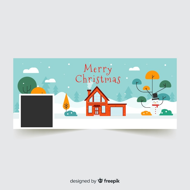 Beautiful christmas facebook cover Free Vector