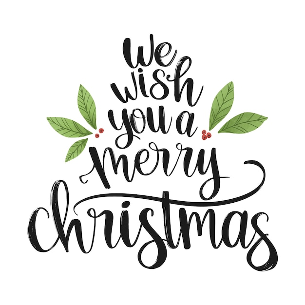 Beautiful christmas lettering Free Vector