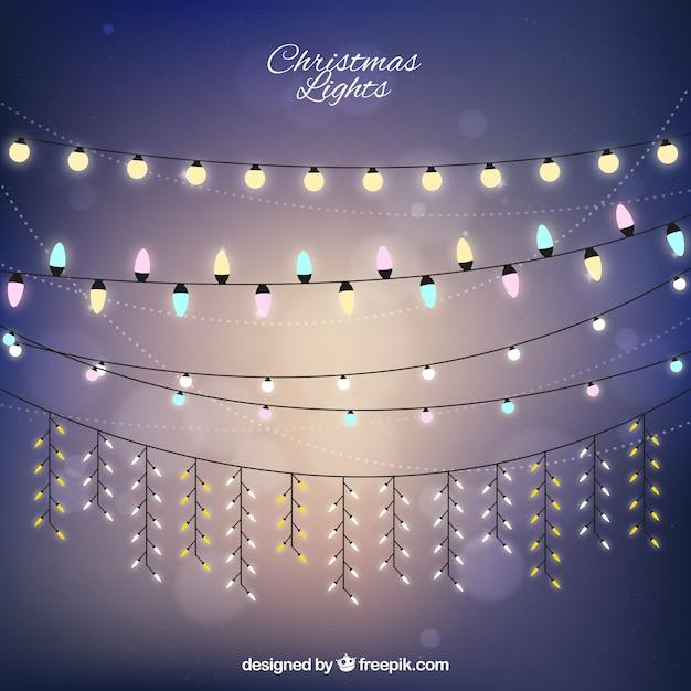 아름다운 크리스마스 조명 컬렉션 무료 벡터