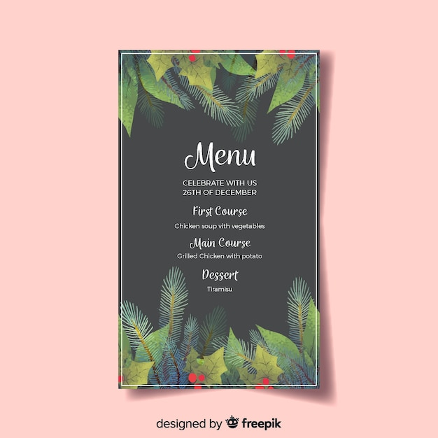 Beautiful christmas menu template Free Vector