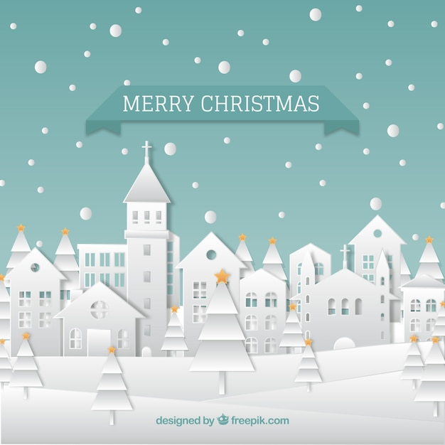 Beautiful christmas paper city background Free Vector