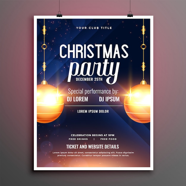 Beautiful christmas party flyer with invitation details Free Vector
