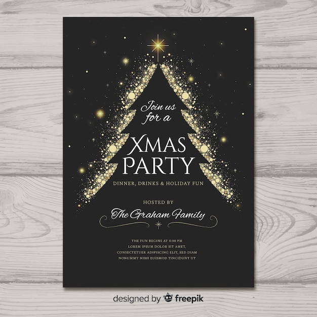Beautiful christmas party poster template Free Vector