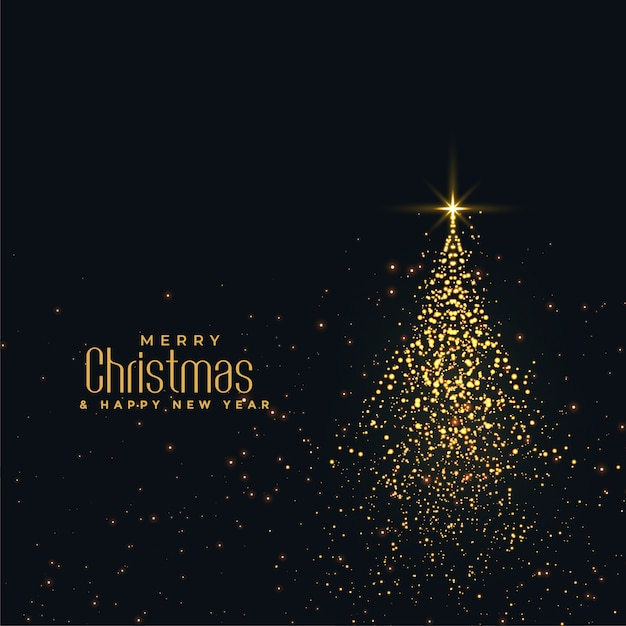 Beautiful christmas shiny tree made with golden particles Free Vector