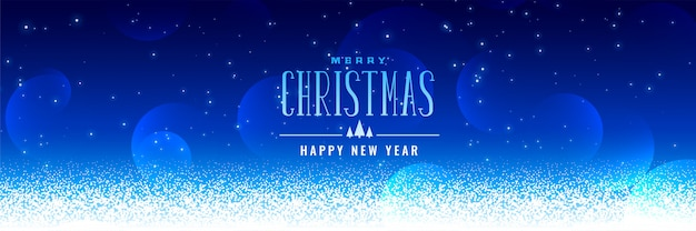 Beautiful christmas snowfall blue background Free Vector