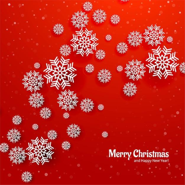 Красивая рождественская снежинка карта красный фон Бесплатные векторы