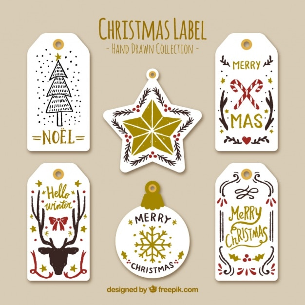 Beautiful Christmas Stickers With Golden Details Vector