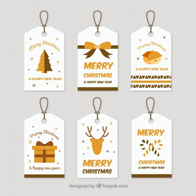 Beautiful christmas tags pack Free Vector