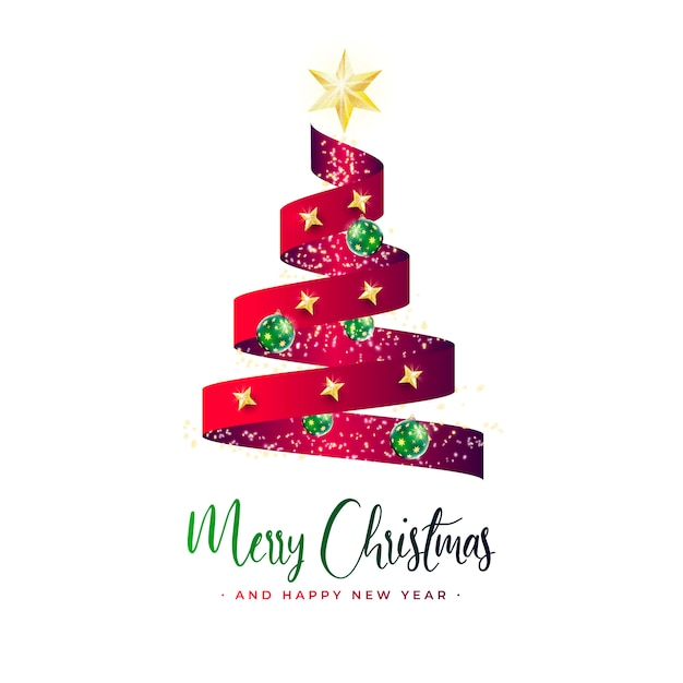 Beautiful christmas tree banner with red ribbon Free Vector