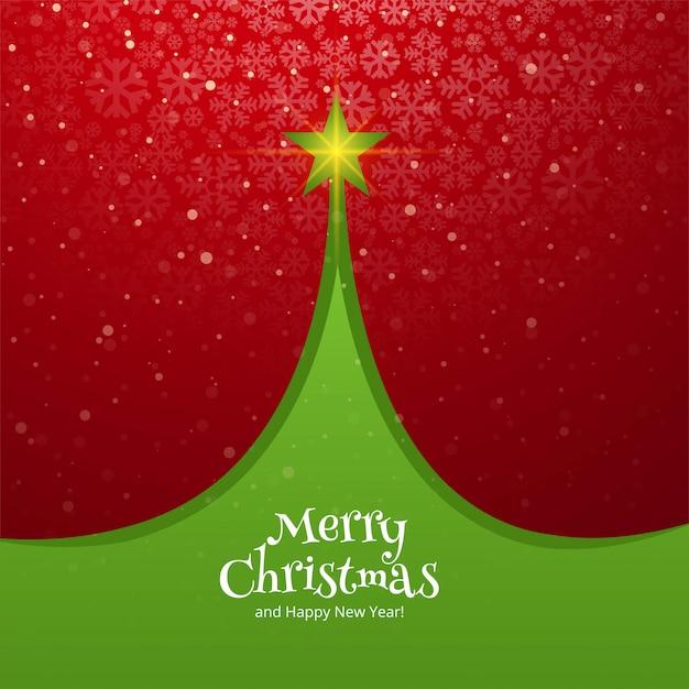 Beautiful christmas tree card celebration holiday background Free Vector