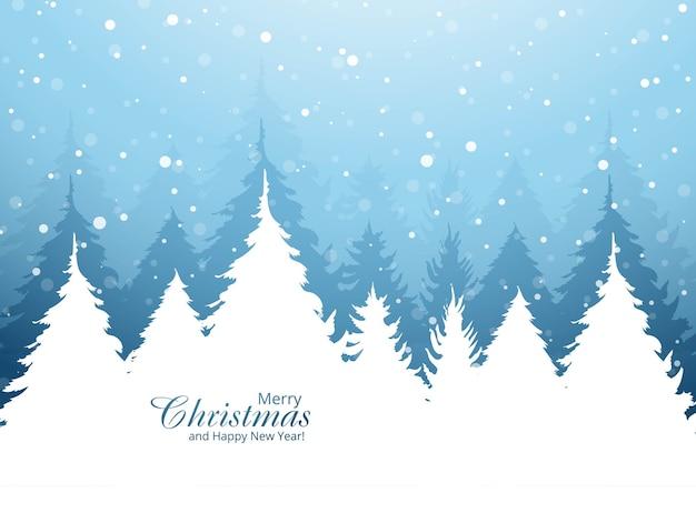 美しいクリスマスツリーカードの休日の背景 無料ベクター