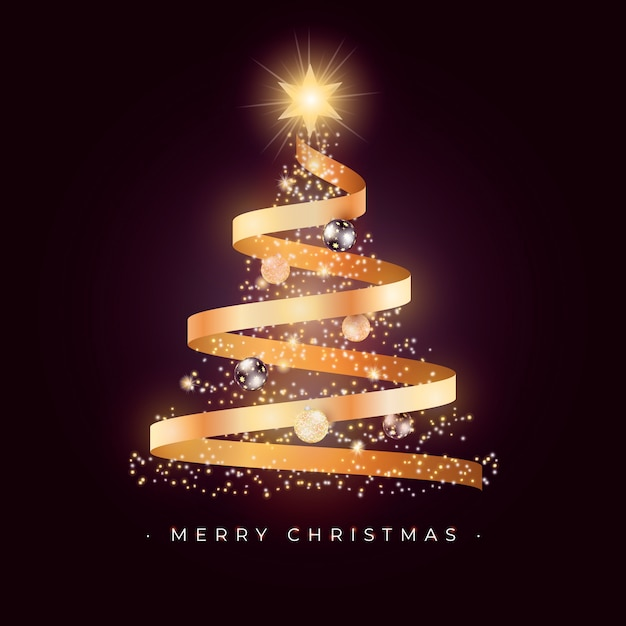 Beautiful christmas tree card with golden ribbon Free Vector