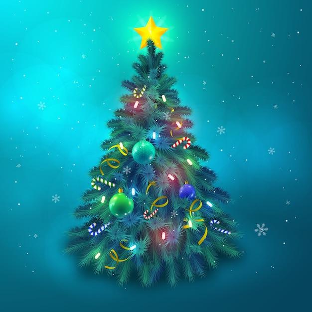 Красивая рождественская елка, украшенная звездными шарами и огнями, плоская векторная иллюстрация Бесплатные векторы