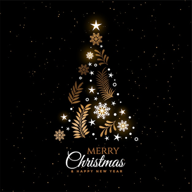 Beautiful christmas tree decorative greeting card design Free Vector