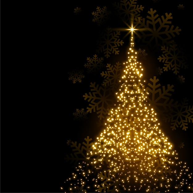 Beautiful christmas tree made with sparkles Free Vector