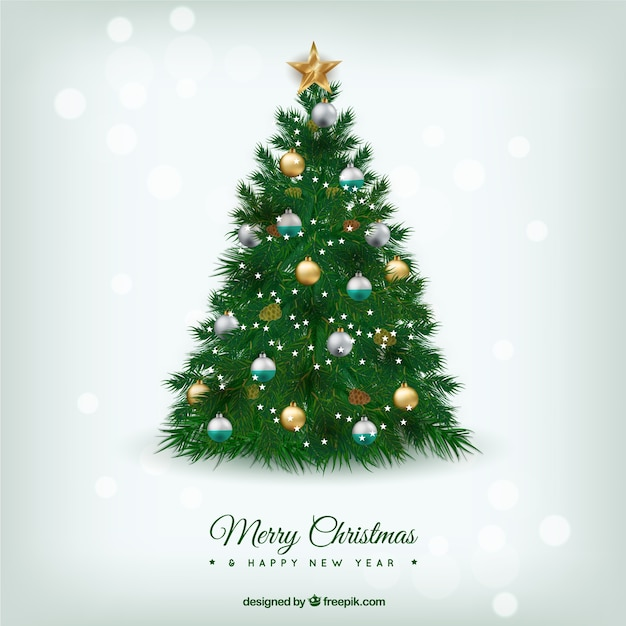 Beautiful Christmas Tree Pictures: Beautiful Christmas Tree In Realistic Style Vector