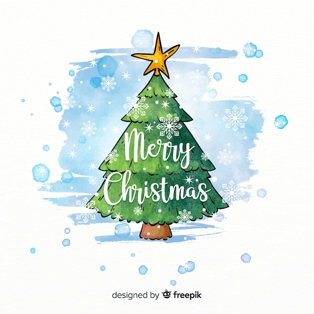 Beautiful christmas tree in watercolor style Free Vector
