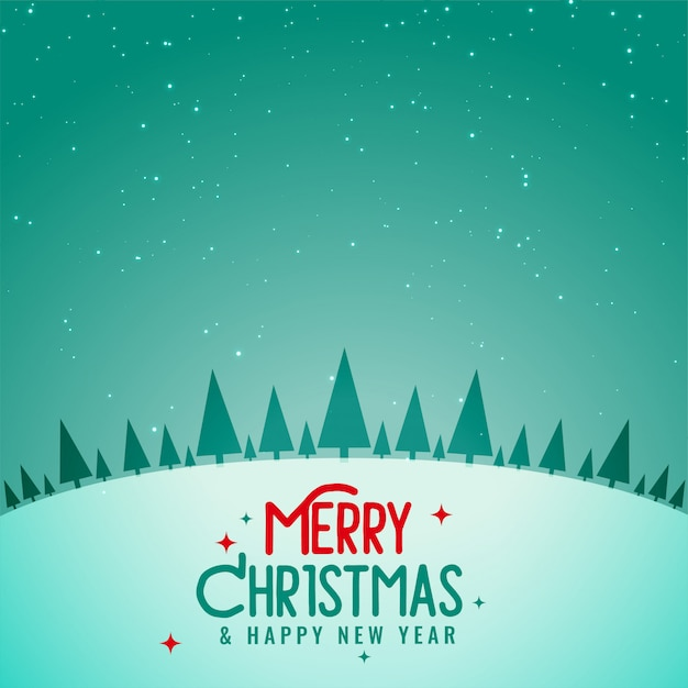Beautiful christmas tree winter landscape background Free Vector