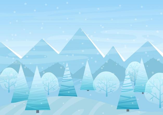 Beautiful christmas winter flat landscape Premium Vector
