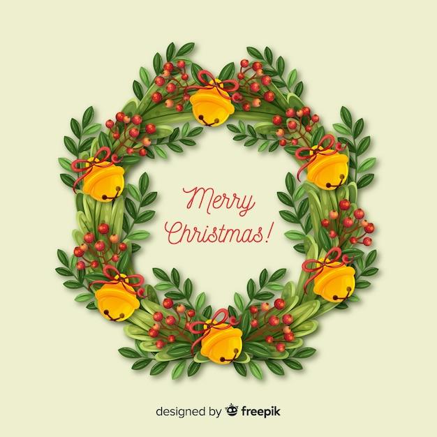 Beautiful christmas wreath background Free Vector