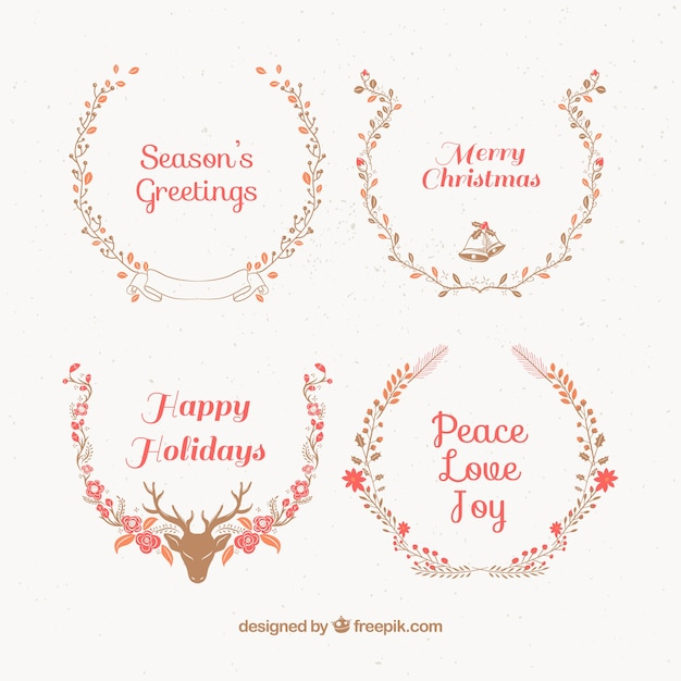 Beautiful christmas wreaths with greeting messages vector free beautiful christmas wreaths with greeting messages free vector m4hsunfo