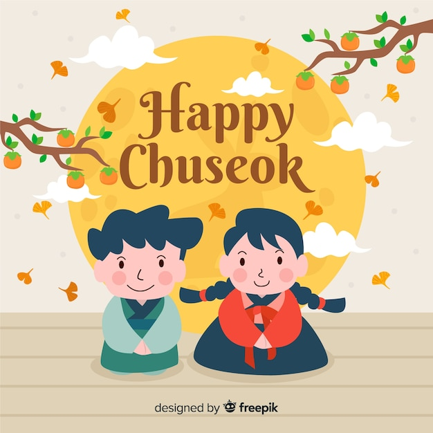 Beautiful chuseok background in flat style Free Vector