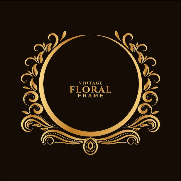 Beautiful circular golden floral frame design Free Vector