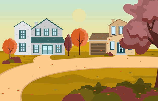 Beautiful city park in fall autumn with building skyline illustration Premium Vector
