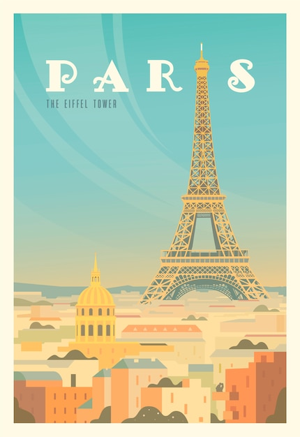 Beautiful city view in sunny day in paris with historical buildings, the eiffel tower, trees. time to travel. around the world. quality poster. france. Premium Vector